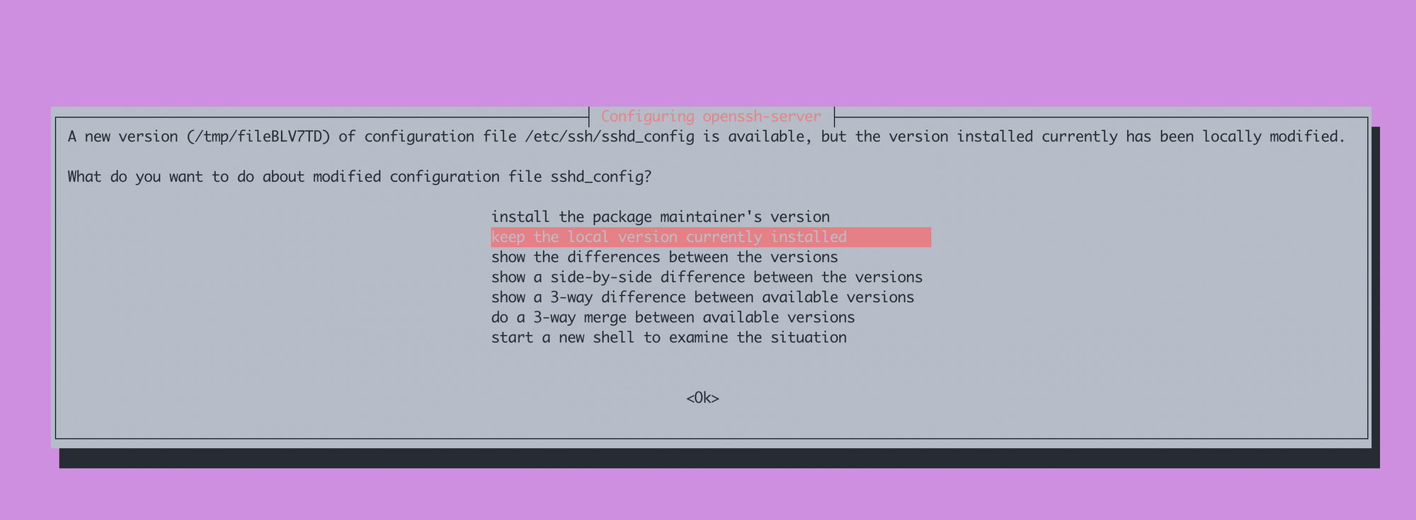 Choose to keep the local version currently installed of sshd_config file